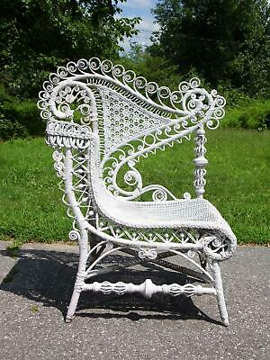 Antique Victorian Ornate Wicker Portrait Arm Chair c.1890's attr. Heywood Bros