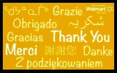 THANK YOU  2015 GIFT CARD FROM WALMART BILINGUAL NO VALUE *new*