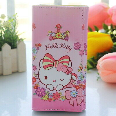 Cute Hello Kitty Flower Wallet Magnetic Buckle Coin Purse Phone Bag Girl Gift