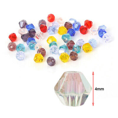 50pcs 4mm Crystal Bicone Beads Loose Beads Lot Vintage For DIY Jewelry Making