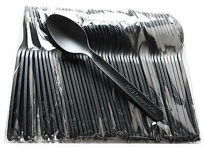 100 x Black Plastic Spoons Plastic Cutlery Strong Heavy Duty Reusable Disposable