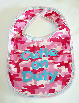 Baby Bib Cutie On Duty Girl Pink Camo New Blue Writing Babies