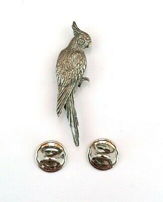 Cockatiel Brooch Pin Badge in Antiqued Pewter with Gift Box
