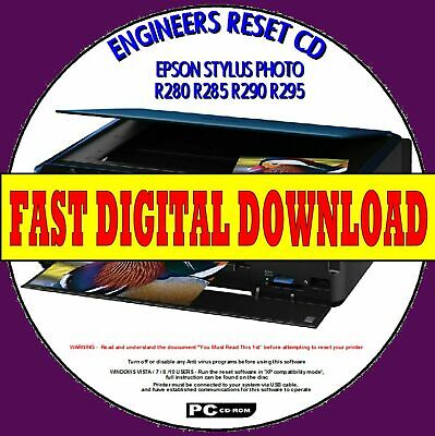 Epson R280 R285 R290 R295 Waste Ink Pad Counter Reset Fix Fast Digital Download