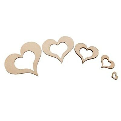 100pcs Blank Wooden Hollow Heart Embellishments for Party Wedding DIY Crafts