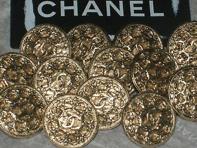 Chanel 13  Cc Logo  Matte Gold Metal Buttons  12  Mm/ Around 1/2''   New Lot 13