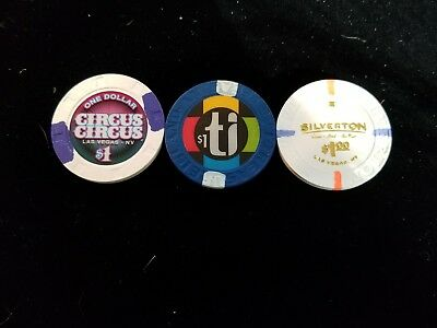 Lot Of 3 Las Vegas $1 Casino Chips Circus Circus Treasure Island Silverton New