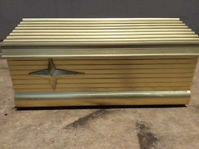 Old Vintage Gold Aluminum Mid-Century Mailbox Flip Top Mail Box Art Deco Boat