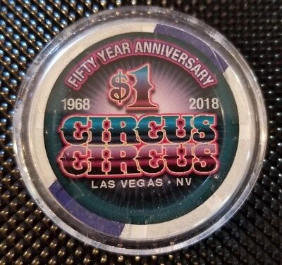 $1 Circus Circus 50 Year Anniversary Casino Chip Las  Vegas Nv Never Played