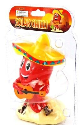 Dancing Jalapeno Pepper With Sombrero and Guitar Green//Red Solar