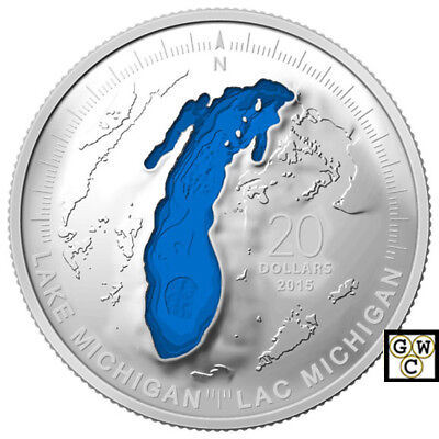 2015Lake Michigan-Great Lakes' Blue Enameled Prf $20 Fine Silver Coin(14068)OOAK