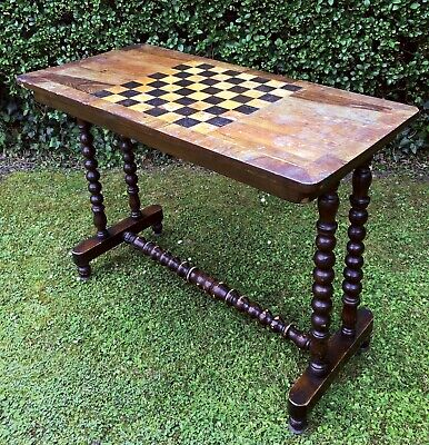Antique Chess Table Rosewood Inlaid with Bobbin Legs Victorian Hall Table 1860