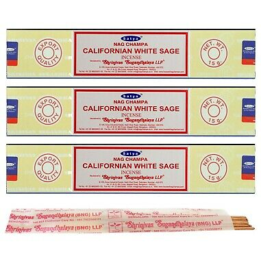 3 Packs Original Satya Californian White Sage Incense Sticks Joss - Nag Champa