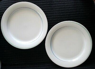 """Set of 2 Arzberg Germany Dinner Plates 11""""  Seafoam Green and Pink Stripe Rimmed"""