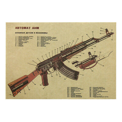 Large Classical Style Retro Paper AK-47 Poster Home Decoration NEW
