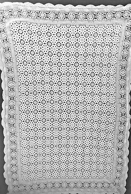 Vintage hand made TABLECLOTH large crochet lace bedspread or tablecloth 65""