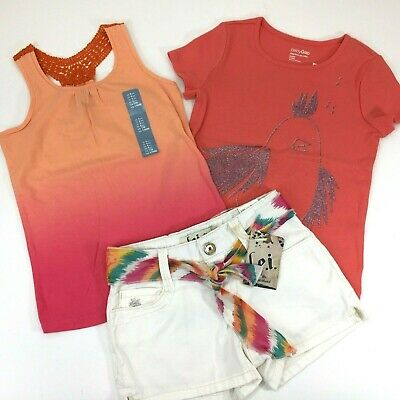 NEW Girls Outfit Bundle baby Gap & L.E.I Kids Tops & Short Toddler Size 4 and 5