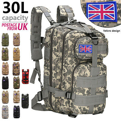 30L Military Tactical Army Rucksack Backpack Camping Hiking Trekking Bag outdoor
