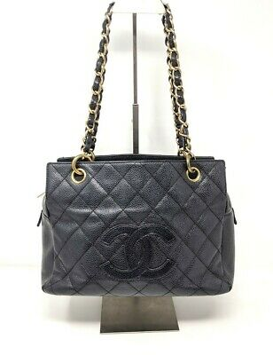 CHANEL Black Bag Caviar Leather Quilted Petite Timeless Tote Bag Gold Hardware