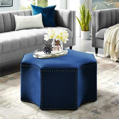 Astounding Luxury Brianna Octagon Accent Beige Ottoman W Bronze Nail Machost Co Dining Chair Design Ideas Machostcouk