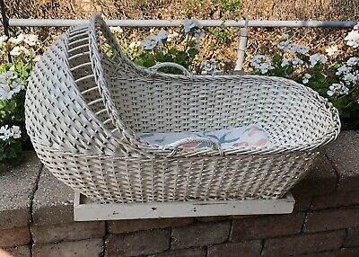 "precious Antique Bassinet crib White Wicker 33"" long w/ original mattress As Is"