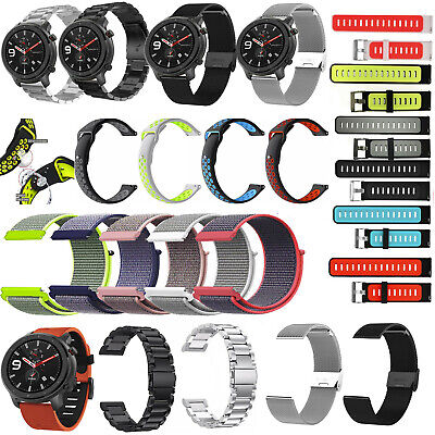 For AMAZFIT GTR 47mm Stainless Steel  Nylon Milanese Watch Wrist Band Strap 22mm