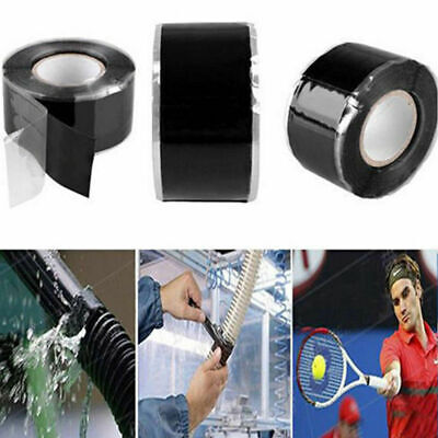1.5M*2.5CM Black Silicone Repair Waterproof Bonding Tape Rescue Self Fusing Wire
