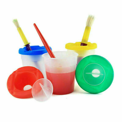 8Pcs/Set Kids Painting Brush Holder Cleaner Pot With Lid Drawing Paint Pen
