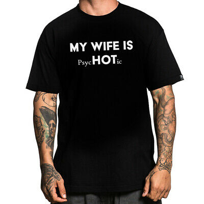 My Wife Is Hot Psychotic Print Black White T-Shirt Short Sleeve Tshirt For Men