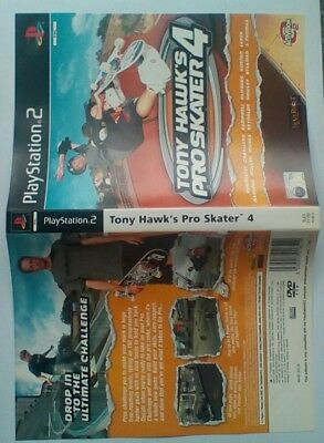 *INLAY ONLY*Tony Hawk's Pro Skater 4 Inlay PS2 PSTwo Playstation 2 Two
