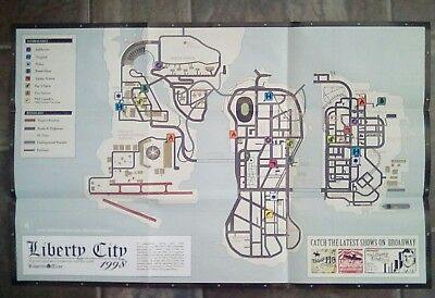 XBOX PS2 * Grand Theft Auto San Andreas Map And Poster - Map Only