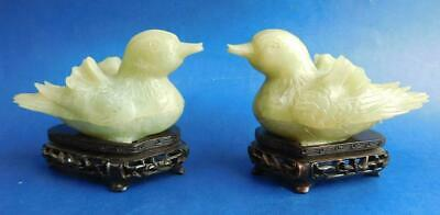2x Fine Chinese Carved Jade Duck Figural Trinket Boxes 20thC