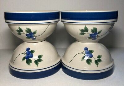 "Lot 4 LL Bean BLUEBERRY 6 1/4"" Soup Coupe Cereal Bowl  - EUC- SEE PHOTOS!"