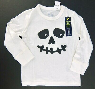 Gap Toddler Boys Glow in the Dark Skull Shirt White Black Halloween 2T 3T 4T 5T