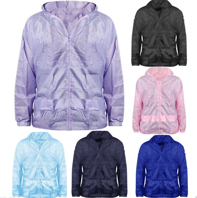New Girls Boys Kids Hooded Lightweight Pac A Mac Rain Jacket Kagool Cagoule Coat