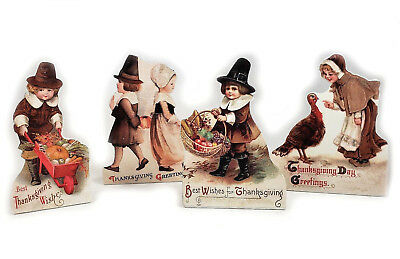 Thanksgiving Wood Dummy Boards Set of 4 Bethany Lowe Pilgrim Children RL9183