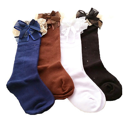 Clearance - Kids Girls Knee High Socks Frilly Lace NAVY WHITE BLACK Age 3 - 10+