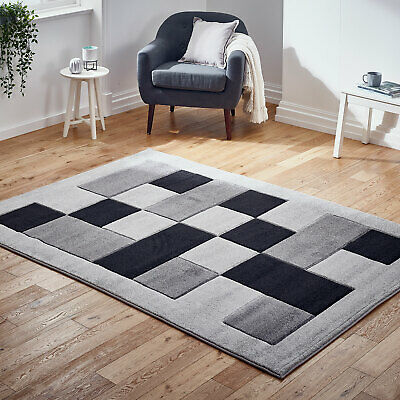 Modern Small to Large Thick Boxes Grey Black Rug Carved Design Rug on Clearance