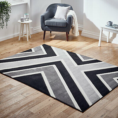 Modern Small to Large Thick Grey Black Rug Carved Geometric Rug on Clearance