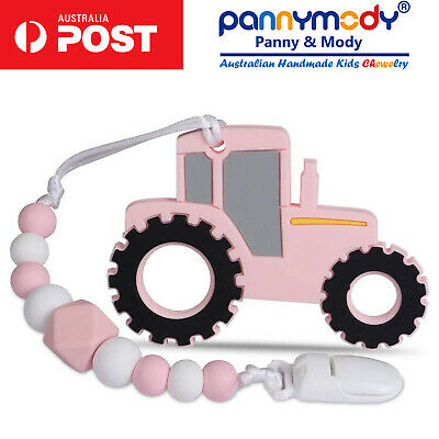 Pink Baby Teething Toy on Dummy Clip Soother Chain Teether Pacifier Clip Beads