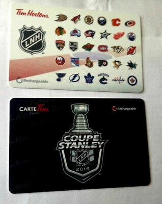 2x Tim Hortons Gift Card NHL LOGO'S 2016 + STANLEY CUP 2015 No Value