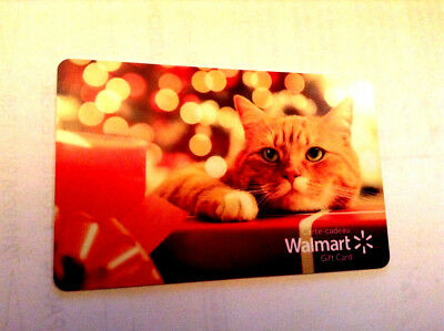 "Walmart Canada Holiday 2018 Gift Card ""Cat Gift Wrap Present No Value New"