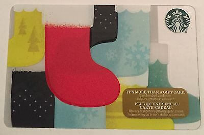 New Starbucks 2016 Stocking Red Holiday Gift Card Rechargeable Bilingual ! Nice!
