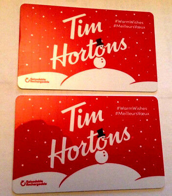 2x TIM HORTONS HOLIDAY 2018 GIFT CARD SNOWMAN CANADA NO VALUE FD63320