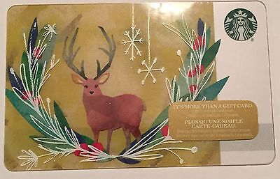 New Starbucks 2016 Moose Holiday Gift Card Rechargeable Bilingual ! Nice!