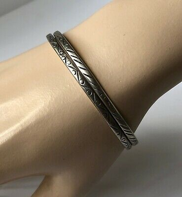 Lot Of 2 Vintage J L Vigueras Mexico Sterling Silver 925 Bracelets Bangle 22 Grs