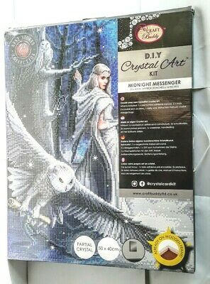 Craft Buddy Crystal Art Kit on Canvas Anne Stokes (Midnight Messenger)-40x50cms