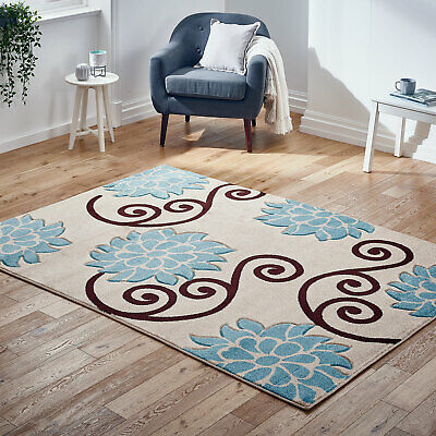 Small to Large Modern Beige Blue Thick Rug Carved Floral Rug Clearance Sale