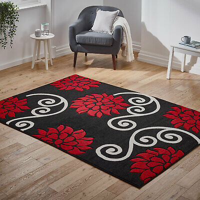Small to Large Modern Thick Rug New Carved Black Red Floral Rug Clearance Sale