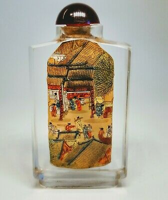 Vintage 1920s Chinese Reverse Hand-Painted Glass Snuff Bottle